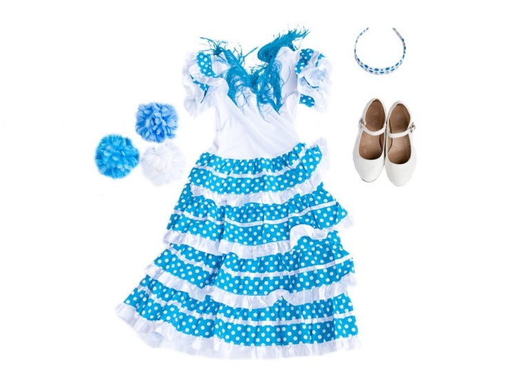 Spaanse jurk pakket Señorita blauw/wit + GRATIS haarband + GRATIS Bloem
