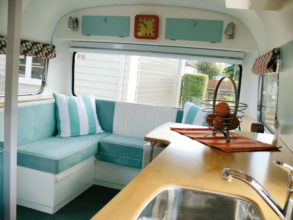 Inside a renovated nz made concorde vintage caravans pinterest Diy caravan interior design ideas