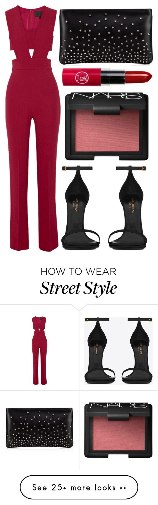 """street style"" by sisaez on Polyvore featuring Cushnie Et Ochs, Yves Saint Laurent, NARS Cosmetics and Christian Louboutin"