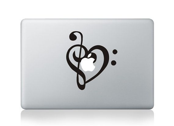 Music heart macbook decal macbook stickers mac decals apple decal for macbook pro air