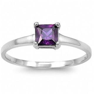 Purple Engagement Rings   Home Rings Bethann's Purple Princess Cut Engagement Ring