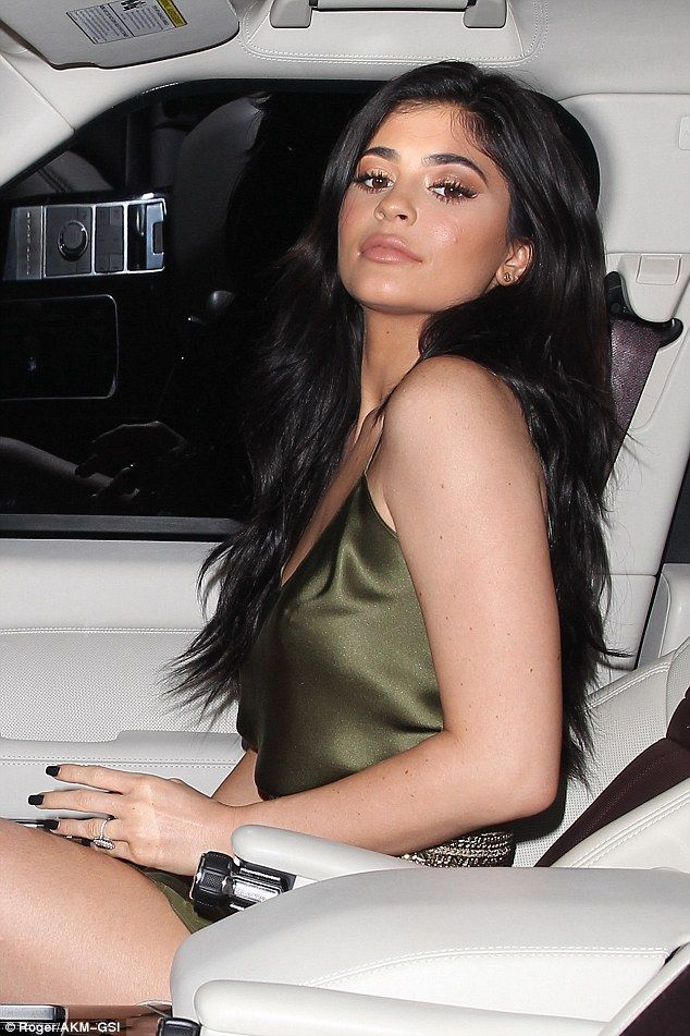 Sitting pretty: Kylie was flashing the diamond sparkler that Tyga recently gave her, sparking rumours of an engagement