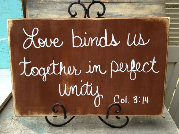 Rustic Brown and White Love Binds Us Together In Perfect Unity Scripture Wedding Sign Decor on Etsy, $22.00