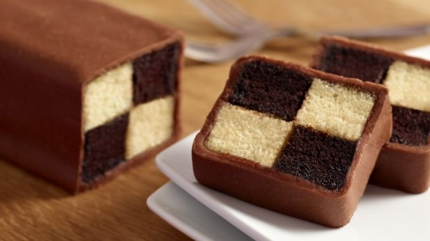 Chocolate Battenberg Cake would make a nice treat on Mother's Day (Favorite Cake Heavens)