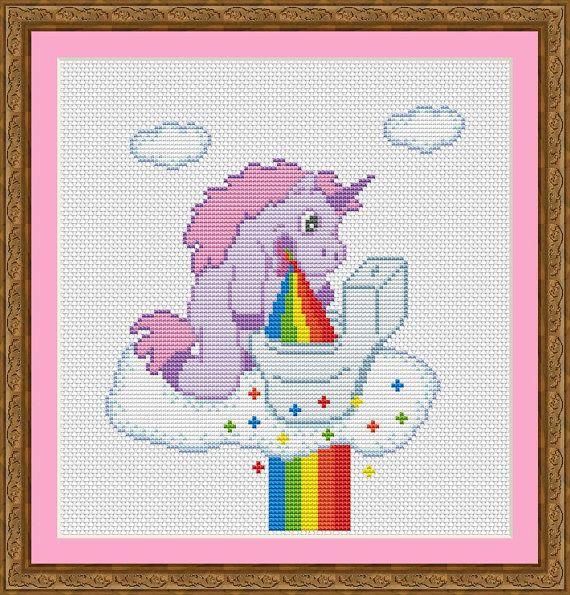 Unicorn Puking Rainbow is a pattern, not the completed work.  I designed it myself.  This pattern is a super quick stitch and can be done in just a few hours.  On 14-count aida the design measures 6.3*7.4 inches (88w*104h stitches). Sizes will change with count size. Design used 16 DMC thread colors.  This pattern is in PDF format and consists of a floss list, and a color symbol chart. If you have any questions about this pattern, please ask me. I will contact you with any further…