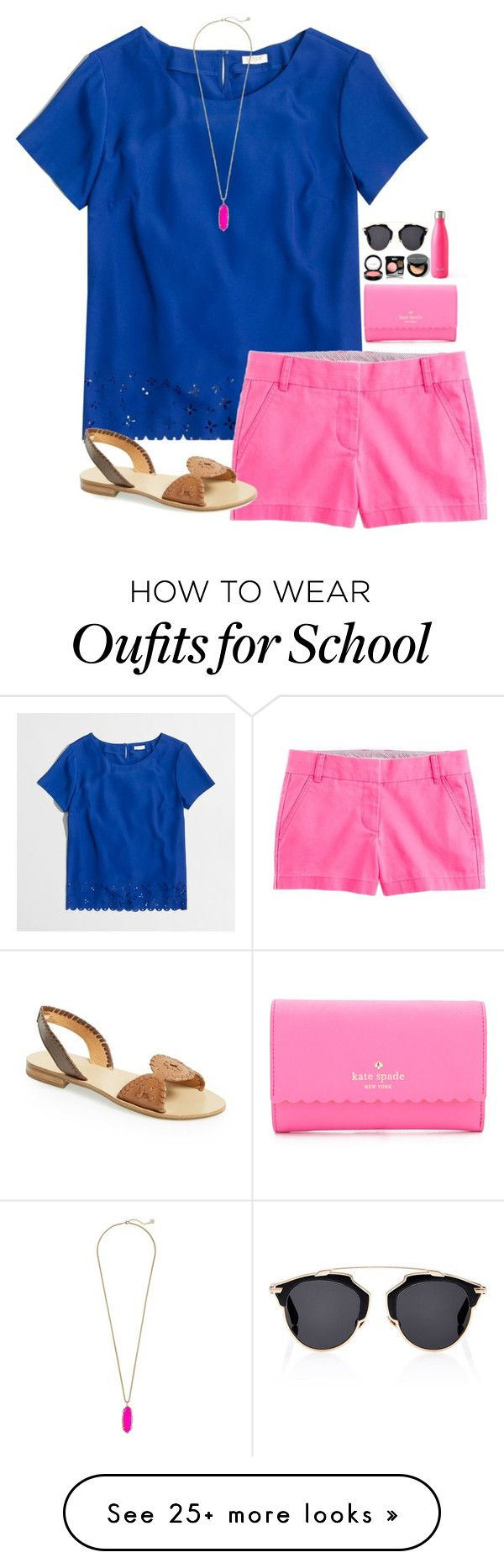 """ @school"" by leawhite on Polyvore featuring J.Crew, Kate Spade, MAC Cosmetics, Chanel, Bobbi Brown Cosmetics, Jack Rogers, S'well, Christian Dior and Kendra Scott"