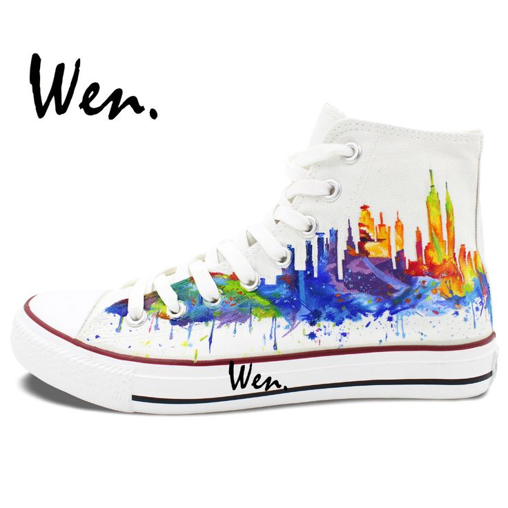 Wen Original Shoes Hand Painted Sneakers Design Custom New York City Skyline Women Men's High Top White Canvas Sneakers from Reliable high canvas sneakers suppliers on WEN Official Store