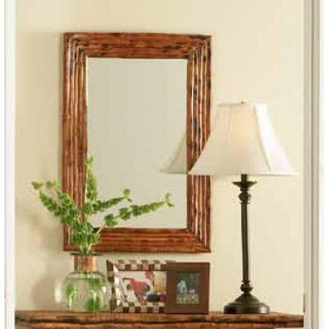 Rectangle Framed Tortoise Bamboo Mirror