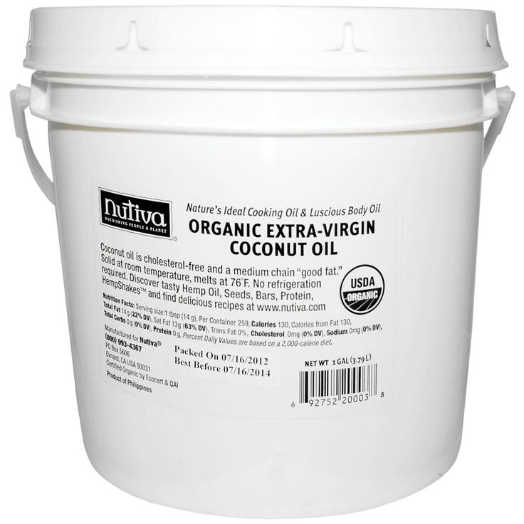 $78.14 Nutiva, Organic Extra-Virgin Coconut Oil, 1 gal (3.79 L) - iHerb.com