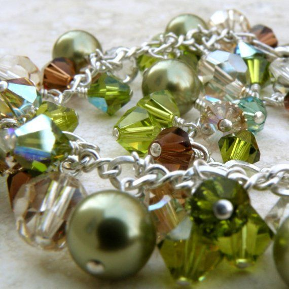 Cristaux Swarovski Bracelet Cluster de perles par fineheart sur Etsy