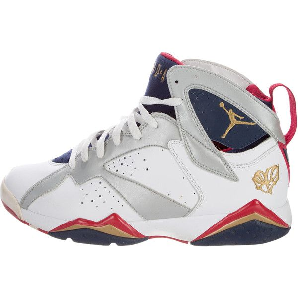 Pre-owned Nike Air Jordan Retro 7 Olympic Sneakers ($245) ❤ liked on Polyvore featuring men's fashion, men's shoes, men's sneakers, white, mens hi tops, mens embroidered shoes, mens sneakers, mens high top shoes and mens retro sneakers