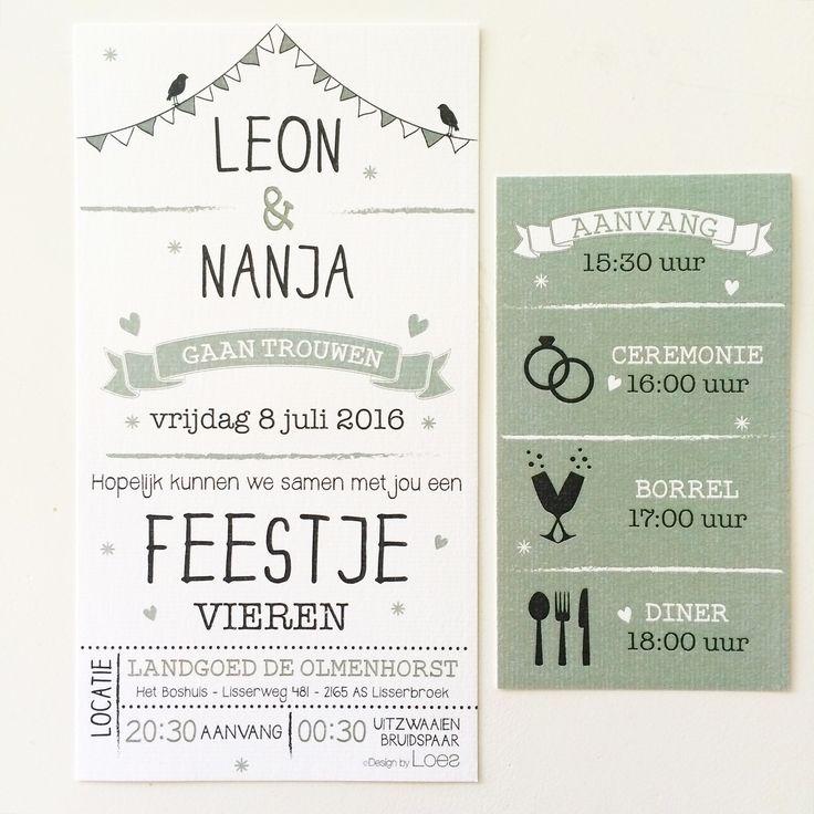 Trouwkaart Leon & Nanja - @designbyloes - www.loesvanmastwijk.nl