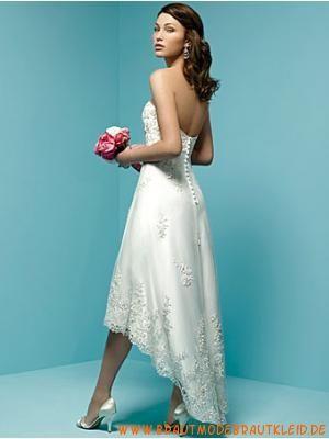 Schöne Kurze Brautmode 2012 aus Satin mit Spitze A-Linie online