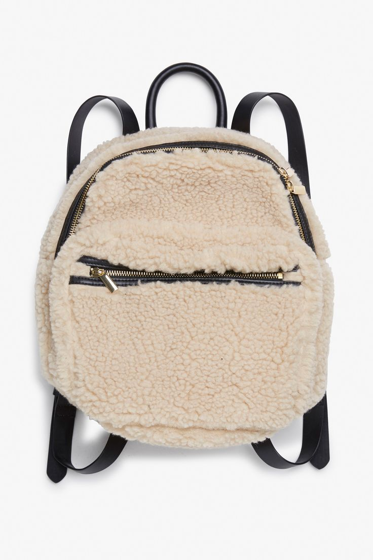 Monki Shearling backpack  in Off white