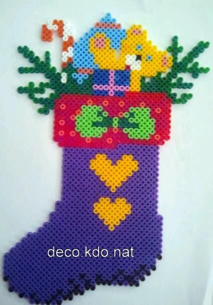 Christmas Stocking hama perler beads by deco.kdo. nat