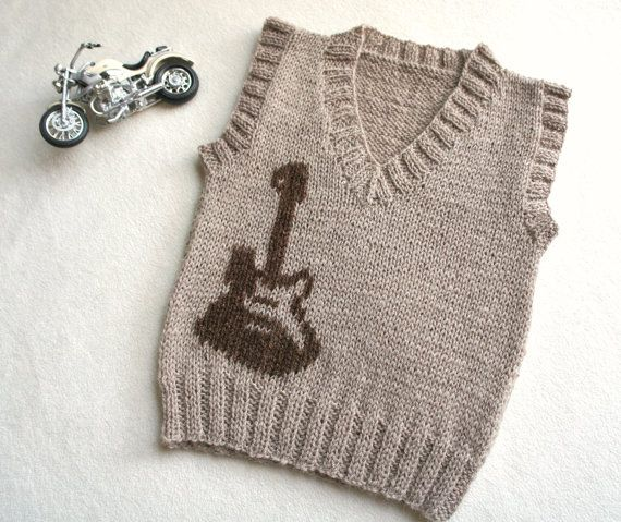Children hand knitted wool vest Knitted Baby by KsyuKnitting