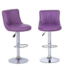 Adeco Purple Puckered Leatherette Bar Stools (Set of two)
