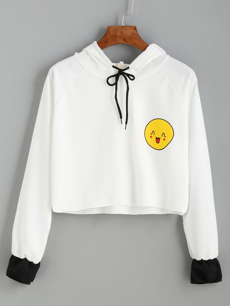 Shop White Smile Print Contrast Cuff Drawstring Hooded Sweatshirt online. SheIn offers White Smile Print Contrast Cuff Drawstring Hooded Sweatshirt & more to fit your fashionable needs.