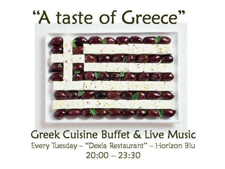 "Tomorrow and every Tuesday ""A taste of Greece"" greek cuisine buffet & quality live music at #horizonblu #kalamata"