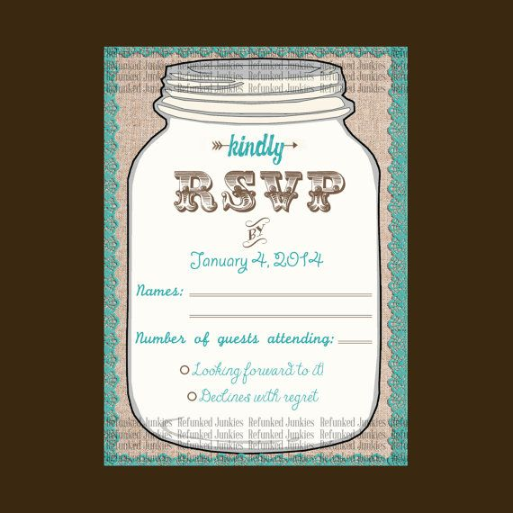 Template Mason Jar RSVP Card,teal,rustic wedding,burlap lace jar rsvp ...