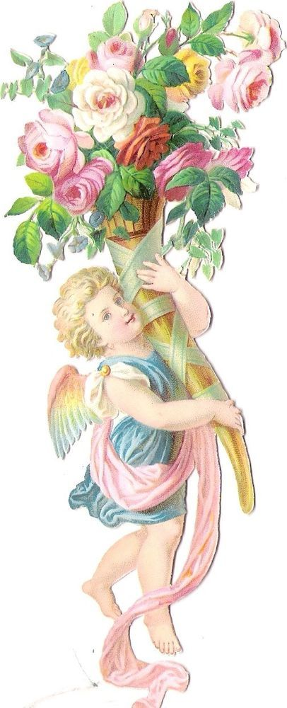 Oblaten Glanzbild scrap die cut chromo Engel angel  16cm  Amor cupid  Rosen