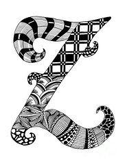 Zentangle Framed Prints - Zentangle Letter Z Monogram Framed Print by Nan Wright  http://fineartamerica.com/art/all/zentangle/framed+prints?page=4