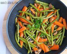 Worteltjes, sperziebonen met honing en champignons.Dit recept past heerlijk bij varkenshaas, biefstuk of kip uit de oven.