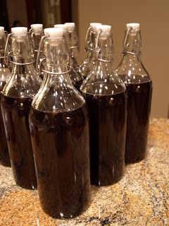 Homemade kahlua - make at least 6 weeks in advance.  2 cups hot water, 2 cups sugar, 1 tablespoon instant coffee, 1 tablespoon vanilla, 2 cups vodka, 1/2 cup good brandy