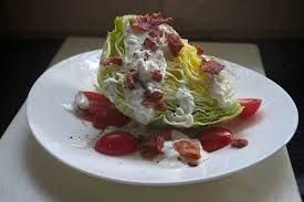 LETTUCE WEDGE SALAD Ruth Chris Steakhouse Copycat Recipe  Serves 4  Bleu Cheese Dressing: 3/4 cup mayonnaise 1/2 cup buttermilk 1/4 cup crum...