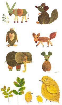 Basteln mit Blättern - Herbst Tiere.