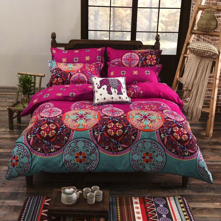 pink oriental boho duvet comforter cover set queen bed size mandala bedding my bedding