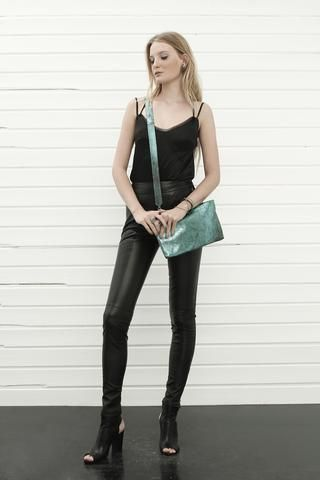 konsanszky_collection SS16_DION black silk top_NUIR skinny strech leather trousers