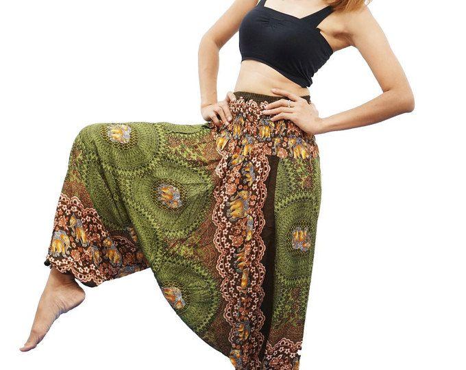 Harem broek Thaise broek, Rayon broek, Boho Strenchy broek, elastische taille kleding strand vrouwen Baggy Casual (olijfgroen TQ0099)