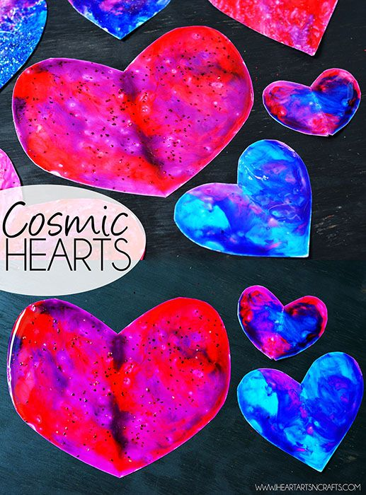 Cosmic Hearts - A Colorful Valentine's Day art project for toddlers! Create these colorful hearts with our easy two ingredient glossy paint