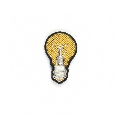 "SMALL HAND-EMBROIDERED ""ELECTRIC BULB"" PIN"