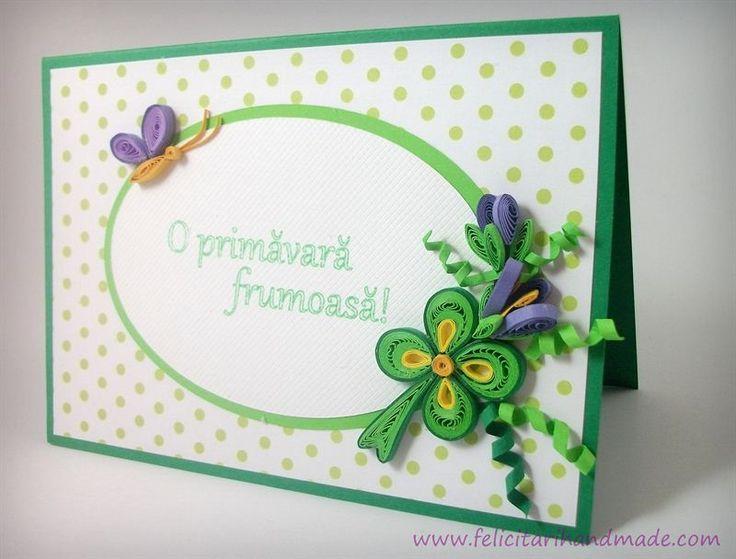 Felicitare quilling de 1 Martie cu buchețel de primăvară / Springtime quilling card