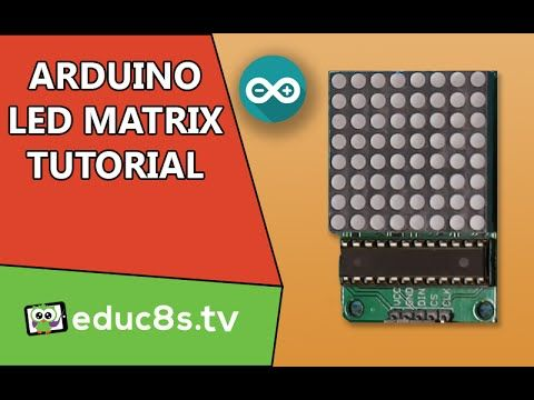 Arduino tutorial: LED Matrix red 8x8 64 Led driven by MAX7219 (or MAX7221) and Arduino Uno - YouTube