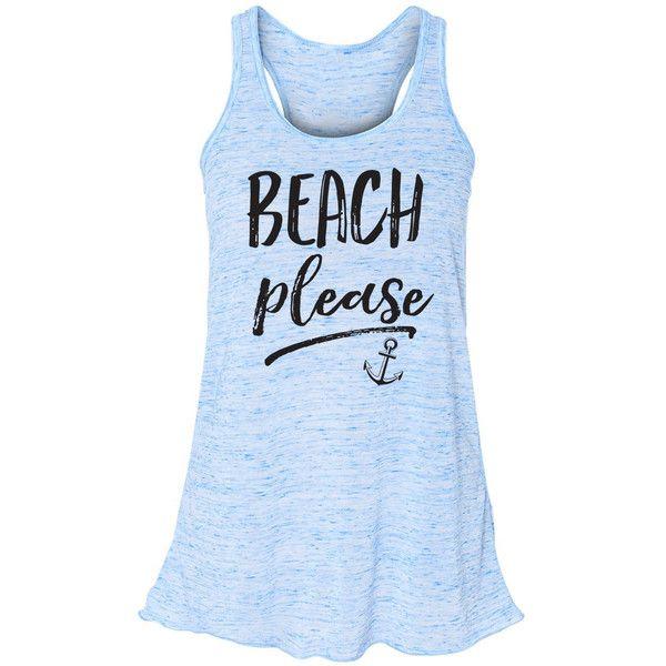 Beach Please Flowy Tank Top Mermaid Shirt Mermaid Summer Tank Beach... ($23) ❤ liked on Polyvore featuring tops, blue, t-shirts, women's clothing, summer shirts, summer tops, striped shirt, blue tank top and racerback tank top