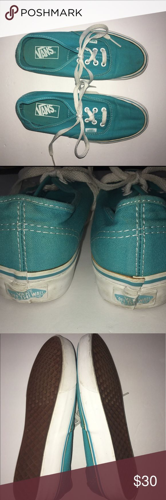 Vans The Authentic Vans The Authentic, Vans original and now iconic style, is a simple low top, lace-up with durable canvas upper, eyelets, Vans flag label and Vans original Waffle Outsole. Gently used.  Color: Teal Vans Shoes Sneakers