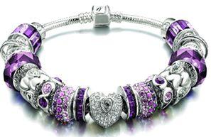 Purple & Silver Pandora Bracelet
