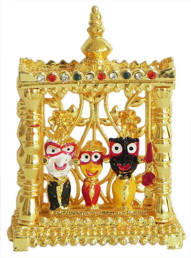 Jagannathdev, Balaram and Subhadra in a Temple (Metal)