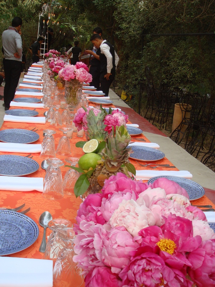 Long tables and pink peonies...