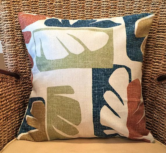 Leaf pillow cover Floral pillow cover throw pillow  This leaf pillow cover brings elegance and style to any room. It is a great piece for your living room, bedroom or entryway.  This handmade envelope pillow cover is made of cotton home decor fabric. The colors are cream, taupe, coral, blue, green and dark tan. Same fabric on front and back. This cover can fit right over an existing throw pillow or can be filled with a pillow insert. #etsyseller #homedecor #pillowase #handmade #style…