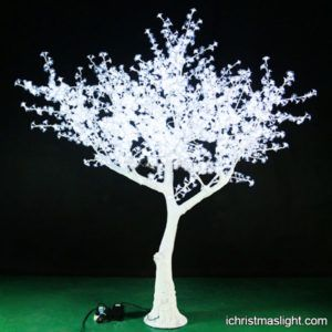 Artificial white cherry tree with LED lights | iChristmasLight