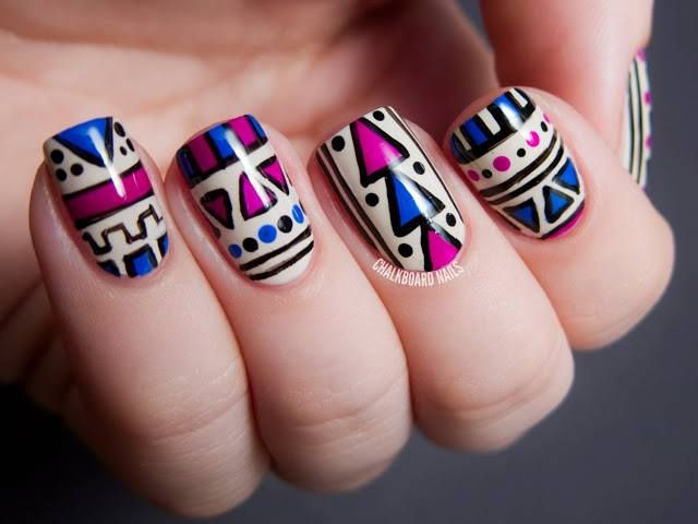 tribal nail art, aztec nail art purple, blue, polish, creative, cream, manicure! love it