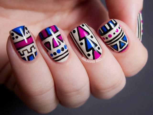 tribal nail art, aztec nail art purple, blue, polish, creative, cream, manicure