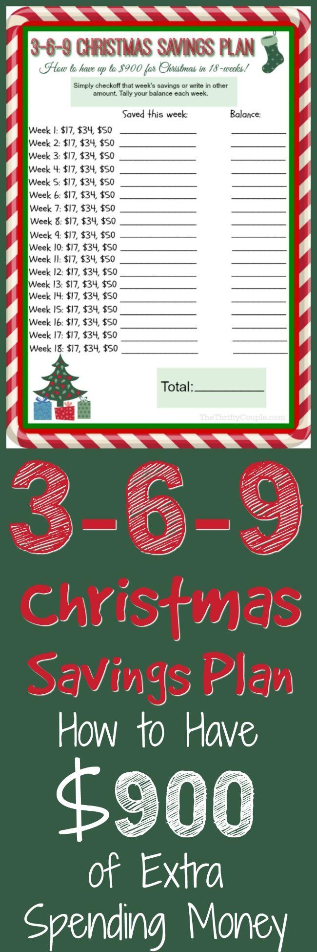 3-6-9 Debt-Free Christmas Savings Plan with FREE Printable: How To Bank $900 Extra For Christmas