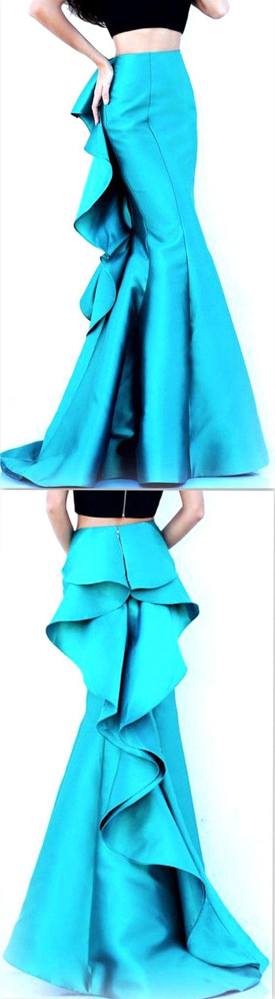 Ruffle Fitted Floor-Length Skirt, Sky Blue