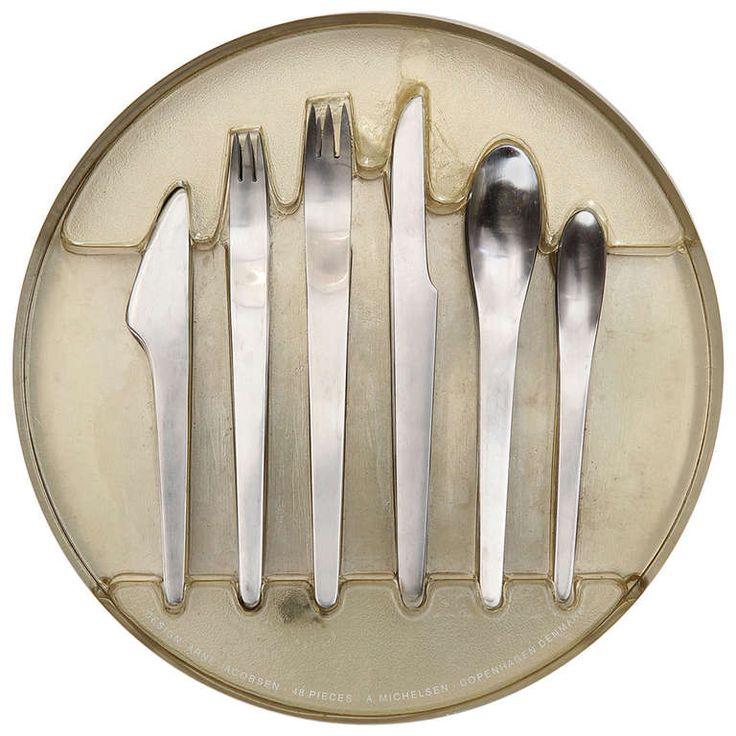 Arne jacobsen stainless steel flatwear for anton michelsen in original packaging 1960s f o r - Arne jacobsen flatware ...