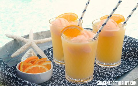 Tropical Orange Sherbet Punch - perfect for parties, showers and poolside!
